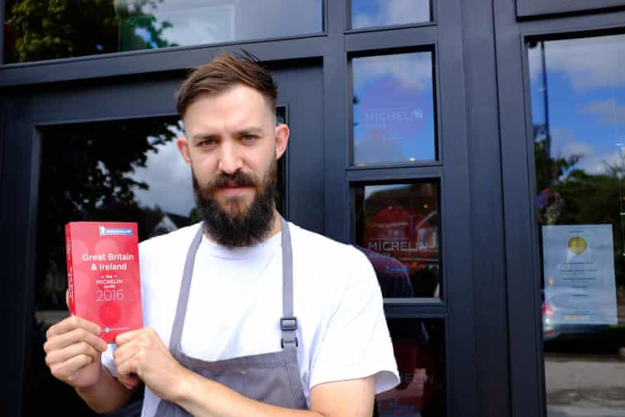 Brad Carter, left, head chef and co-owner, outside the Michelin-starred Carters of Moseley.