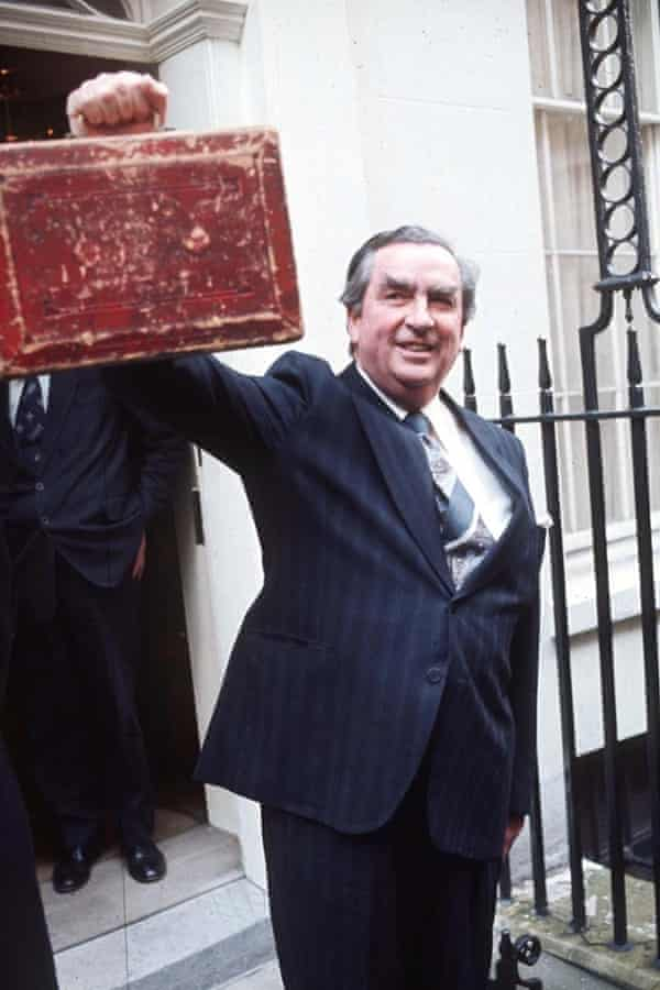 Denis Healey standing outside 11 Downing Street.