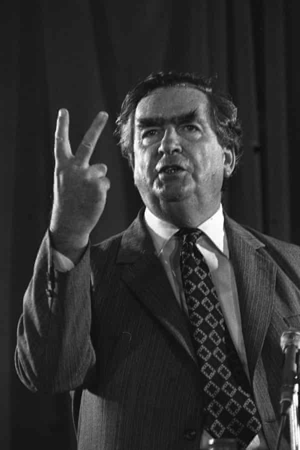Denis Healey hitting out at Tony Benn and his supporters at a Labour Solidarity meeting.
