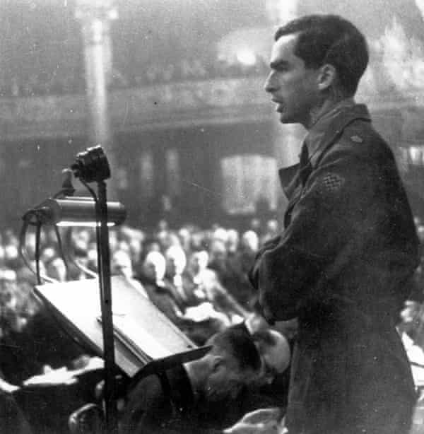 Major Denis Healey speaking at the Labour party conference in 1945.