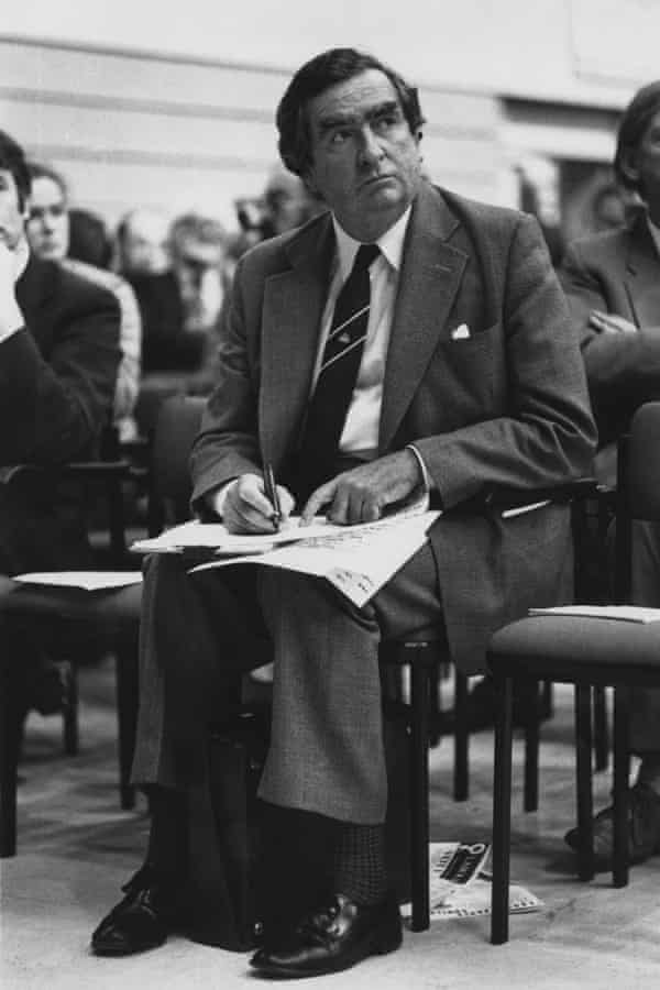 Dennis Healey working on his speech at the Labour party conference in 1976.