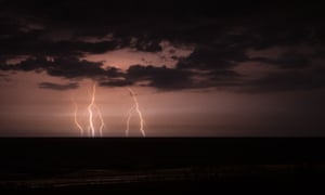 Lightning Strike Over the Ocean, Amelia Island, Florida