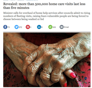The Telegraph: 'Revealed: more than 500,000 home care visits last less than five minutes'