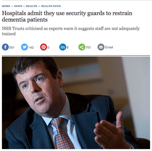 The Telegraph: 'Hospitals admit they use security guards to restrain dementia patients'