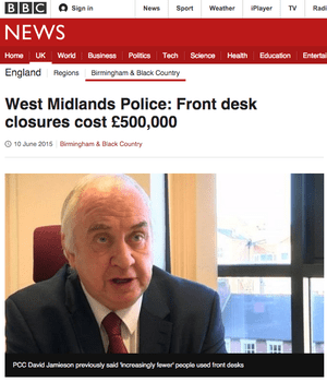 BBC News: 'West Midlands Police: Front desk closures cost £500,000'