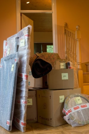 'We're happy to have her, but we'd also like the space …' Claire returned home with a flat's worth of stuff.