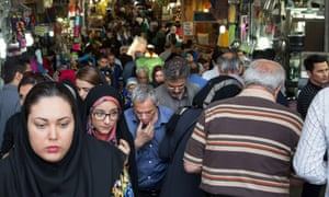 Crowd at the Grand Bazaar in Tehran, Iran.