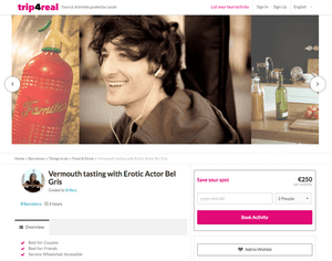 Trip4Real webpage advertising a vermouth tasting tour of Barcelona with porn actor Bel Gris.