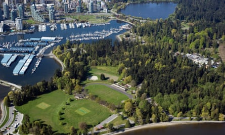 An aerial view of Stanley Park and Vancouver West