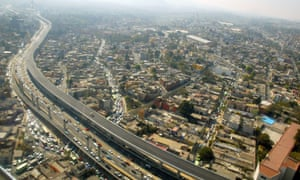 Aerial view of Mexico City's beltway.