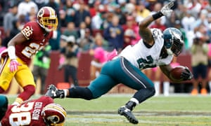 Philadelphia Eagles running back Ryan Mathews gets tripped up in the midst of their 23-20 loss to Washington.