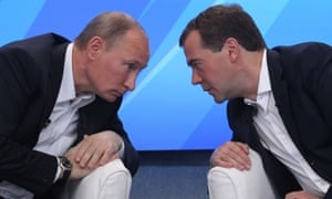 Russian president Vladimir Putin (left) and prime minister Dmitry Medvedev.