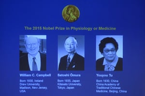 The winners of the Nobel Medicine prize 2015 (L-R) Irish-born William Campbell, Satoshi Omura of Japan and China's Youyou Tu.