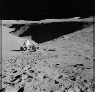 Apollo 15 astronaut with a space buggy