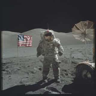 On the moon during the Apollo 17 mission