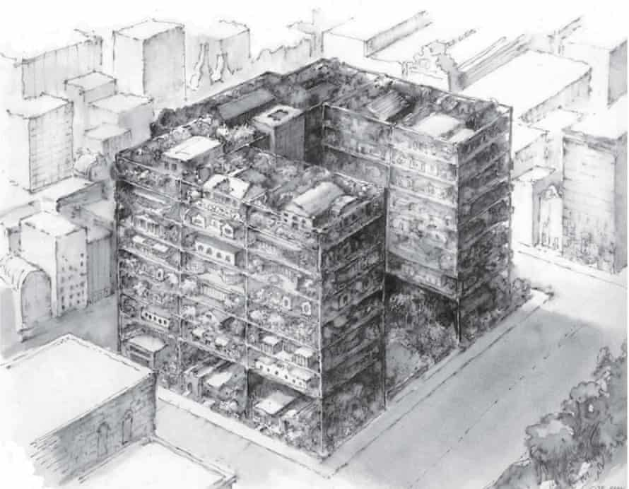 Highrise of Homes by James Wines, part of SITE Specific - Architectural Drawings 1979 to 2012 at the Rhona Hoffman Gallery