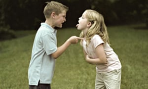 A boy and a girl fighting.. Image shot 2005. Exact date unknown.