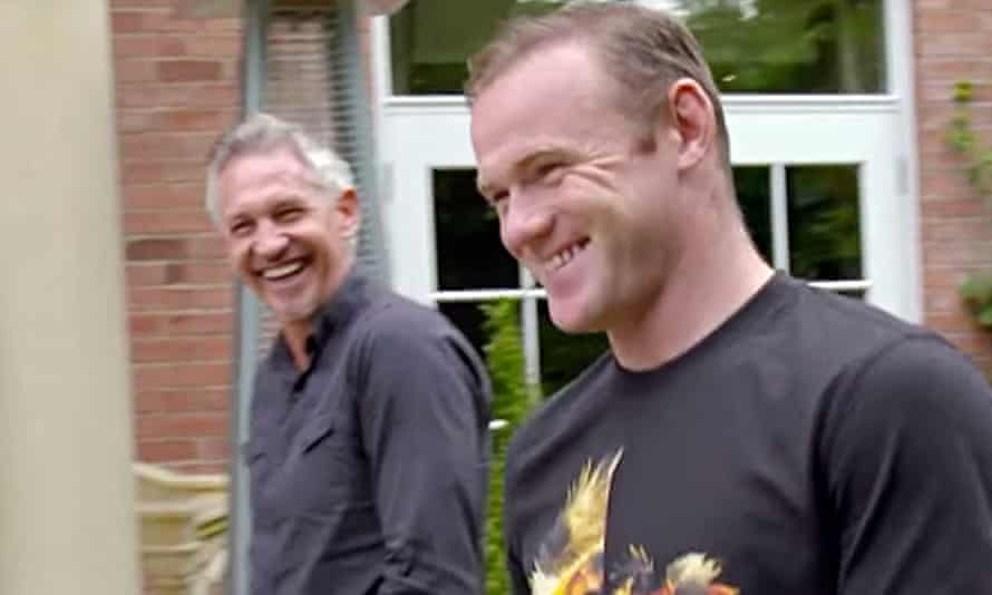 Gary Lineker and Wayne Rooney in Rooney: The Man Behind the Goals. Photograph: BBC