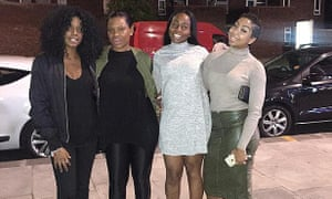 Zalika Miller, Reisha, Tasha and Lin Mei on their way to Dstrkt nightclub in the West End