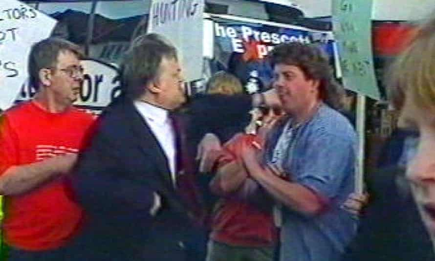 The then deputy prime minister John Prescott punches a protester after having an egg thrown at him in 2001.