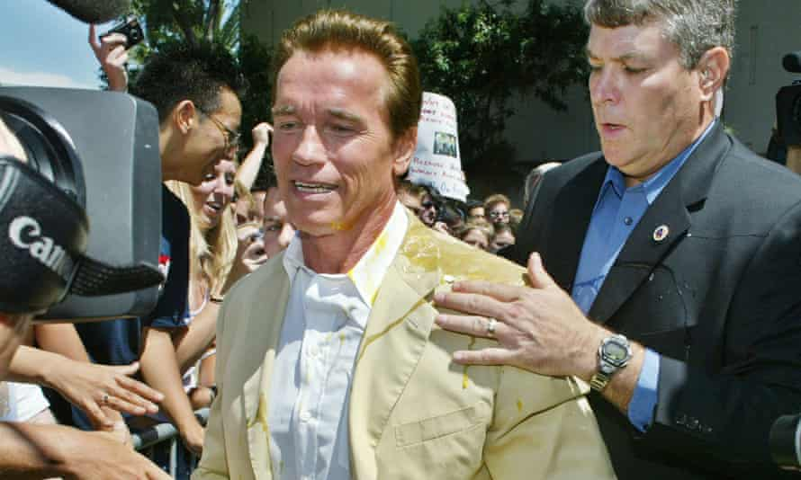 Arnold Schwarzenegger after being struck by an egg at a campaign rally in 2003.