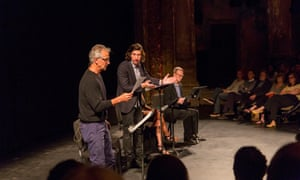 Doerries with Adam Driver, Bill Irwin, Gloria Reuben, and David Strathairn at the Brooklyn Academy of Music.