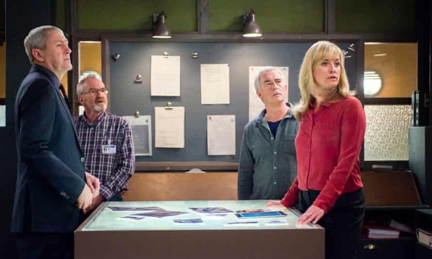 UCOS are interrupted during a briefing… Nicholas Lyndhurst, Larry Lamb, Denis Lawson and Tamzin Outhwaite.