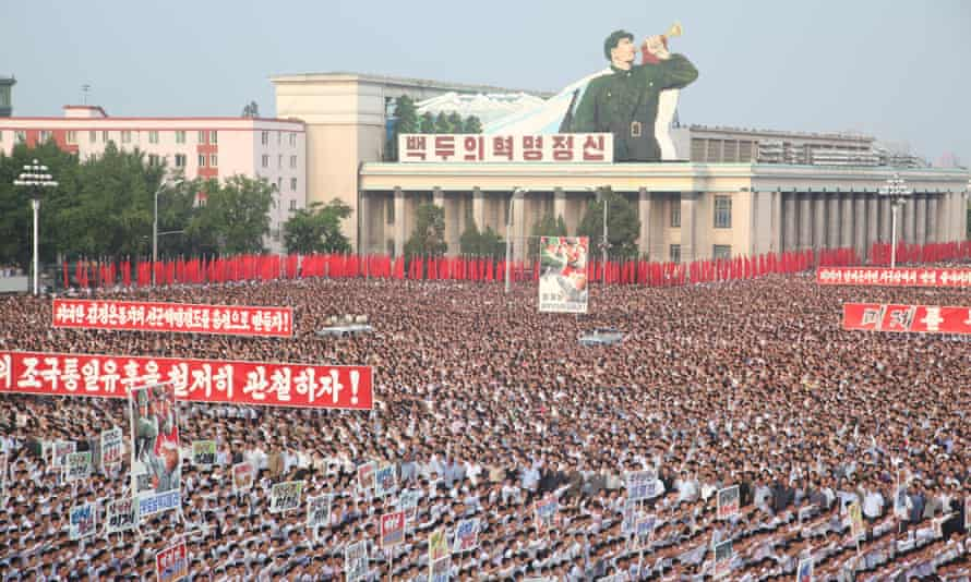 North Koreans march at Kim II-sung Square
