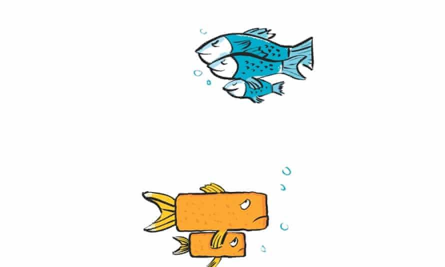 Illustration of family of fish