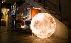 A Luna lamp lights up the living room.