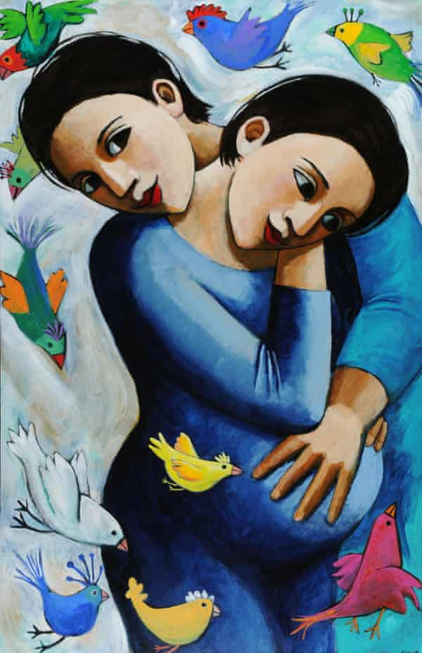 The Birds and the Grandchild, acrylic on canvas, by Anita Klein.