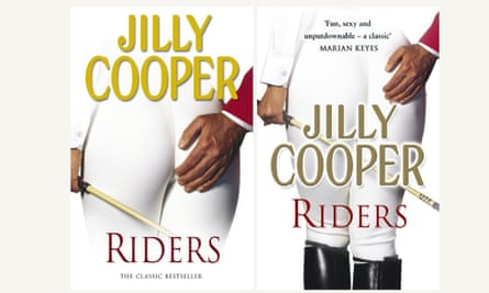 The original cover of Jilly Cooper's novel Riders (left) and the toned-down version.