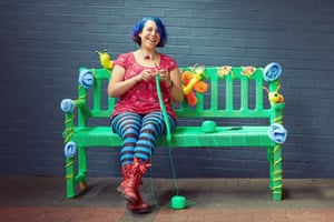 Knit wit ... graffiti knitter Deadly Knitshade conjures clever creations with her needles.
