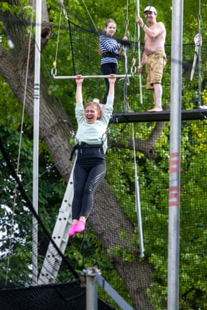 Arghhhh!!! ... Bella Mackie gets to grips with the trapeze.