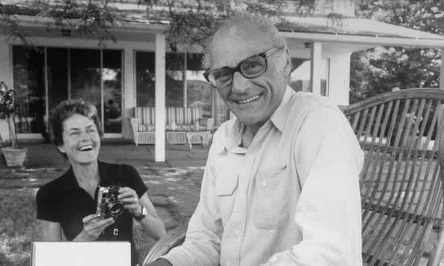 A happy home … Arthur Miller and his wife, Inge Morath, at their Roxbury, Connecticut house.