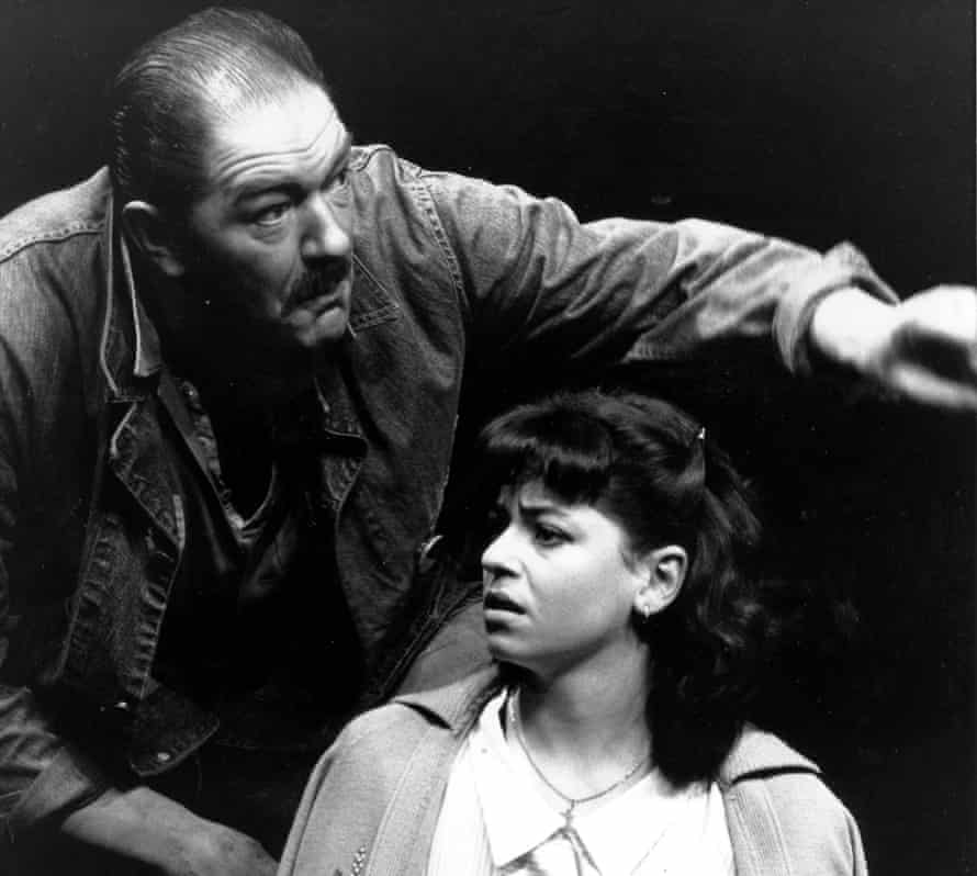 Michael Gambon as Eddie Carbone and Susan Sylvester as Catherine in A View From the Bridge, National Theatre London, 1987.