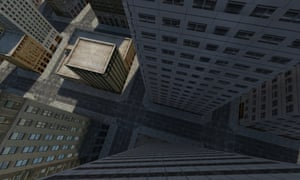 Screenshot from the virtual city that Elizabeth Day flew around in.