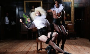 Two performers on stage in period dress from the gay-friendly night called Amy Grimehouse at London's Sutton House venue.