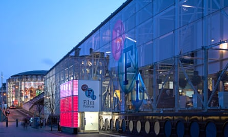Exterior shot of the British Film Institute (BFI) building at dusk, on London's South Bank.