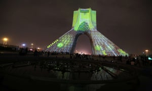 A visual installation by German visual artist Philipp Geist is seen projected on the Azadi Tower in Tehran.