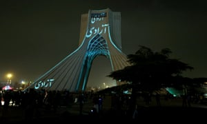 A visual installation by German visual artist Philipp Geist is seen projected on the Azadi Tower, also known as Liberty Tower, in Tehran.