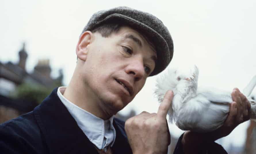 Sir Ian McKellen with one of his pigeons in the film Walter