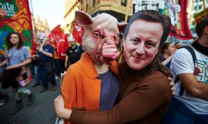 Anti-austerity protesters outside Tory conference in Manchester
