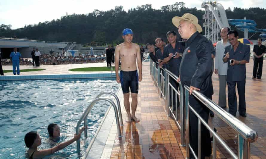 Kim Jong-un inspects a swimming pool at the opening ceremony of Rungna People's Pleasure Ground in 2012.