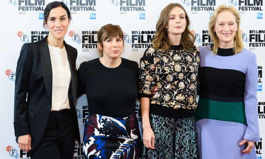Streep and Mulligan with Sarah Gavron and Abi Morgan.