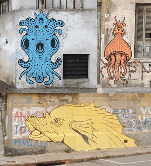 Detailed sea creatures have sprung up all over Montevideo.