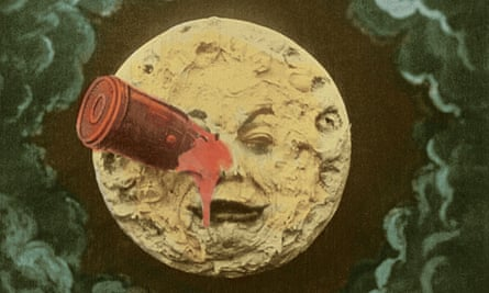 Inspired by Jules Verne: A rocket ship crashes into the moon in a still from director George Melies film, A trip to the moon, 1902.