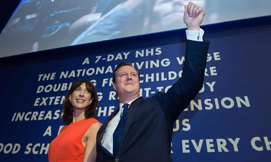 Prime minister David Cameron with his wife Samantha after his keynote speech at the Conservative party conference