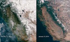 Snow cover in the Sierra Nevada mountain range in California in January 2013 (L) and January 2014 is compared in this combination of NASA satellite handout photos.