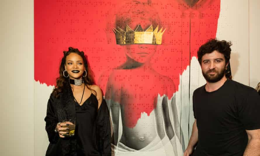 Rihanna and Roy Nachum with the artwork for her eighth album, Anti.